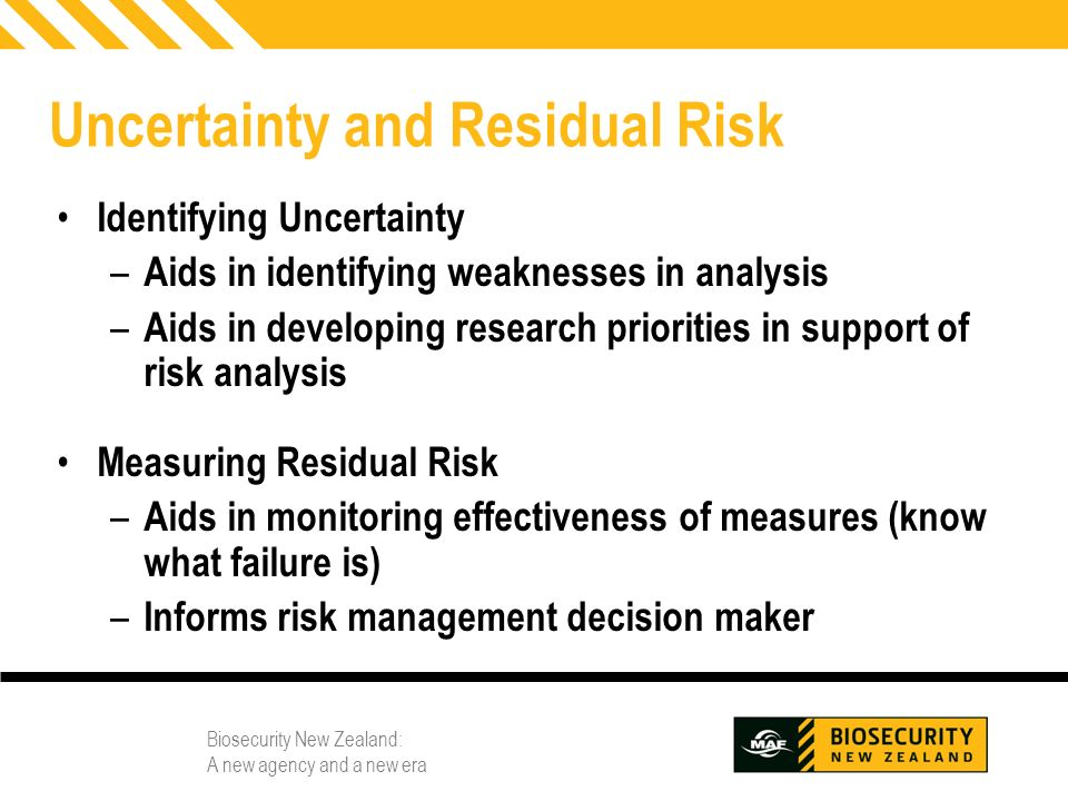 Uncertainty and Residual Risk