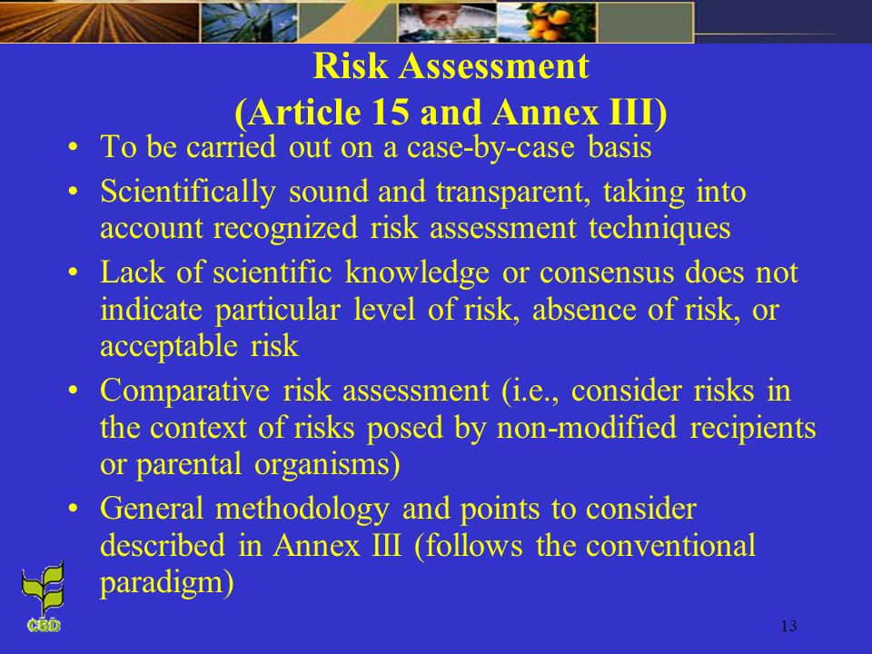 Risk Assessment (Article 15 and Annex III)