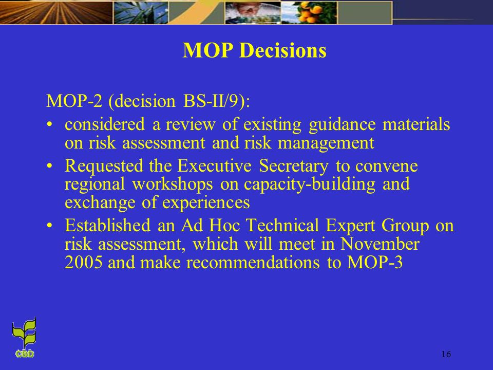MOP Decisions MOP-2 (decision BS-II/9):