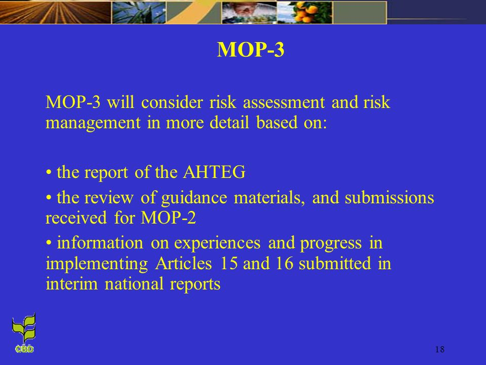MOP-3 MOP-3 will consider risk assessment and risk management in more detail based on: the report of the AHTEG.