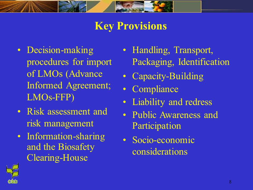 Key Provisions Decision-making procedures for import of LMOs (Advance Informed Agreement; LMOs-FFP)