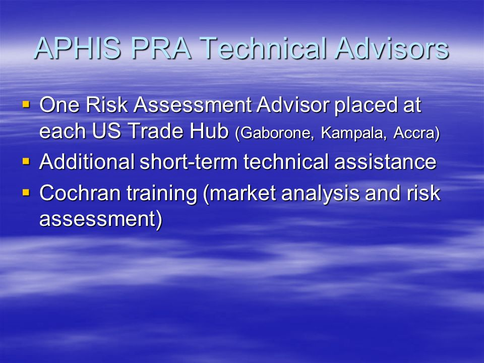 APHIS PRA Technical Advisors