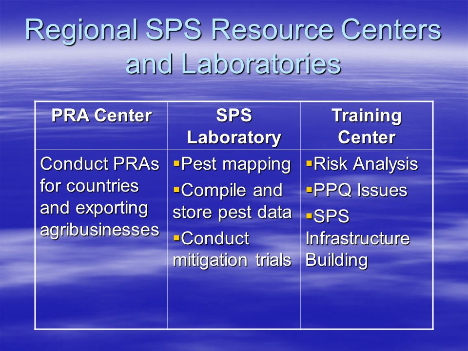 Regional SPS Resource Centers and Laboratories