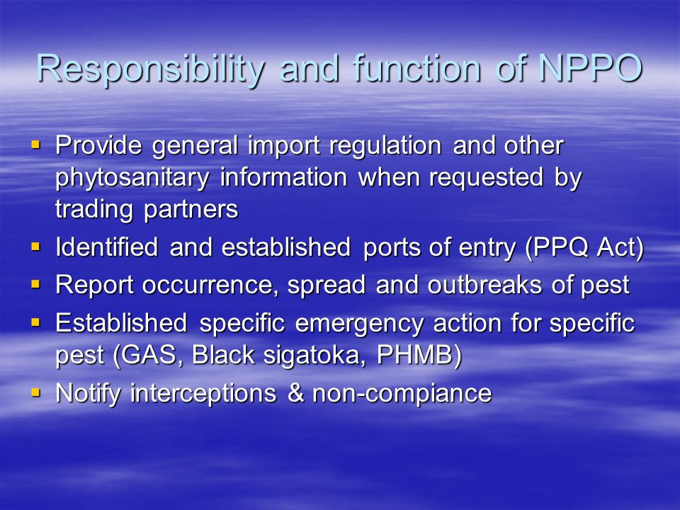 Responsibility and function of NPPO