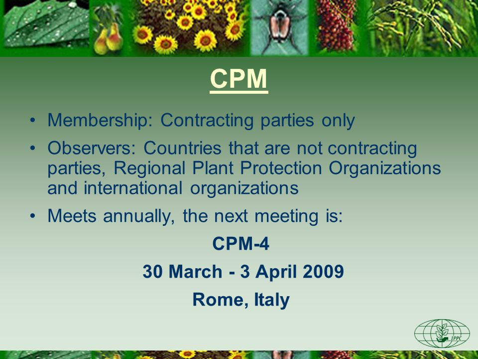 CPM Membership: Contracting parties only