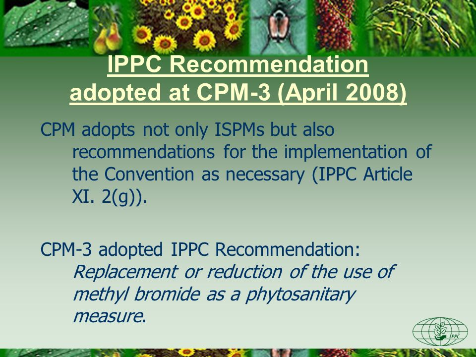 IPPC Recommendation adopted at CPM-3 (April 2008)