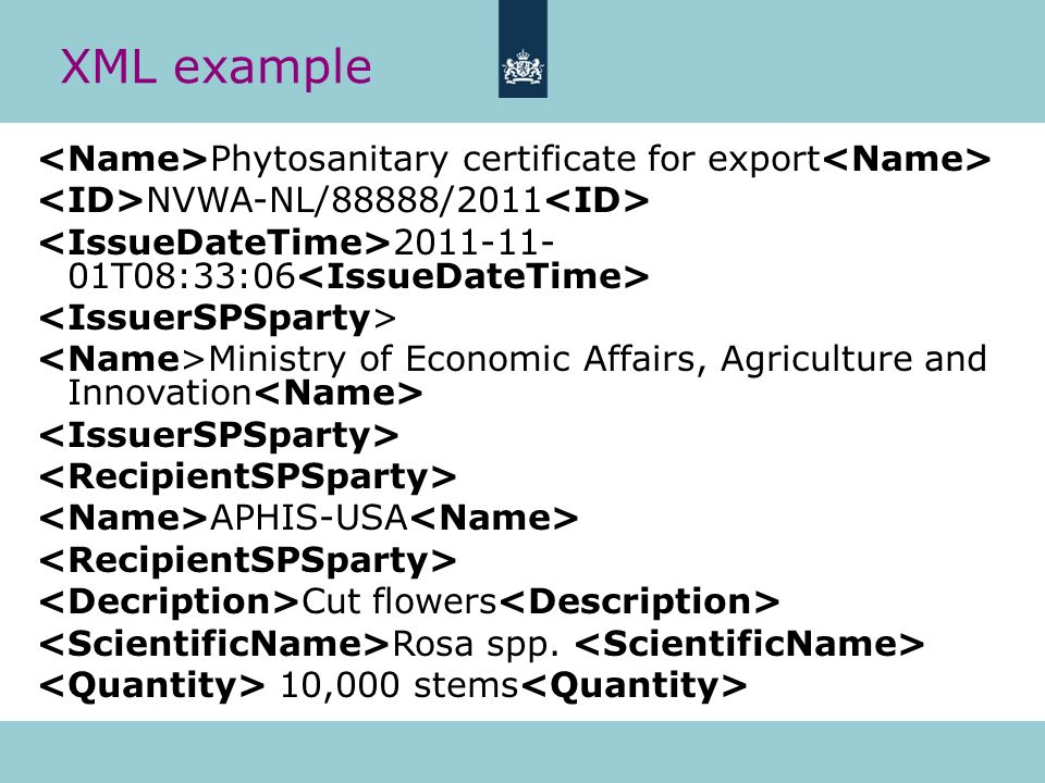 XML example <Name>Phytosanitary certificate for export<Name> <ID>NVWA-NL/88888/2011<ID> <IssueDateTime>2011-11-01T08:33:06<IssueDateTime>