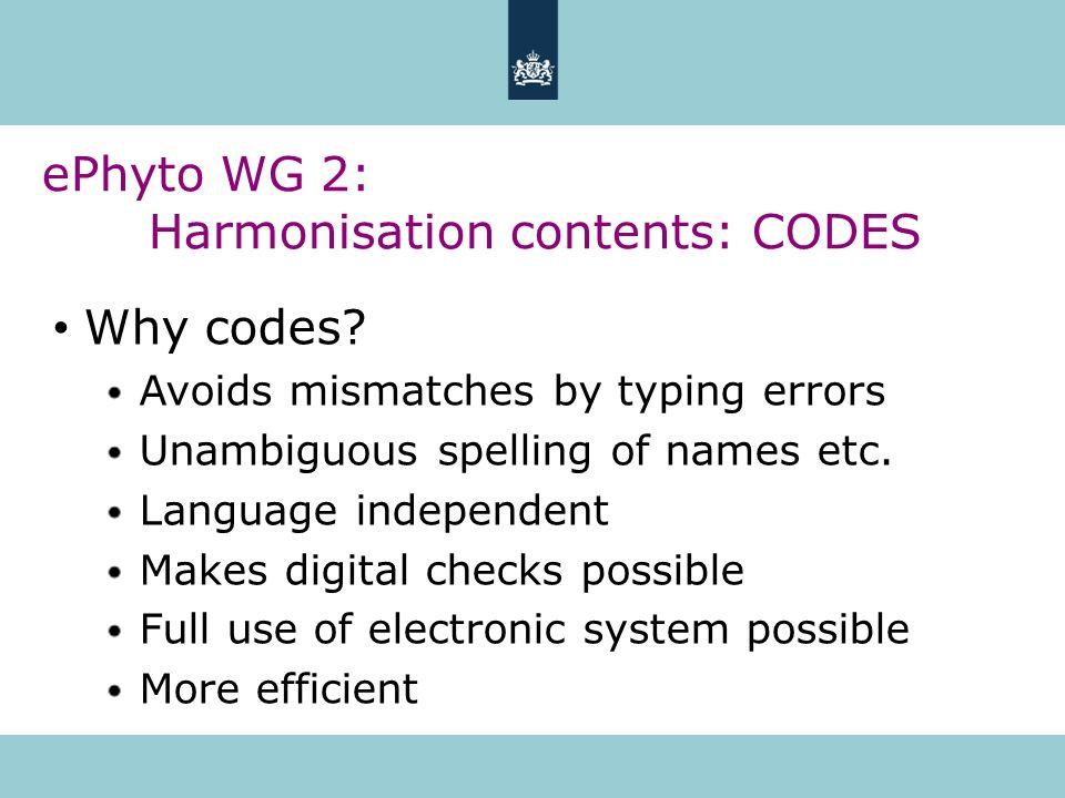 ePhyto WG 2: Harmonisation contents: CODES