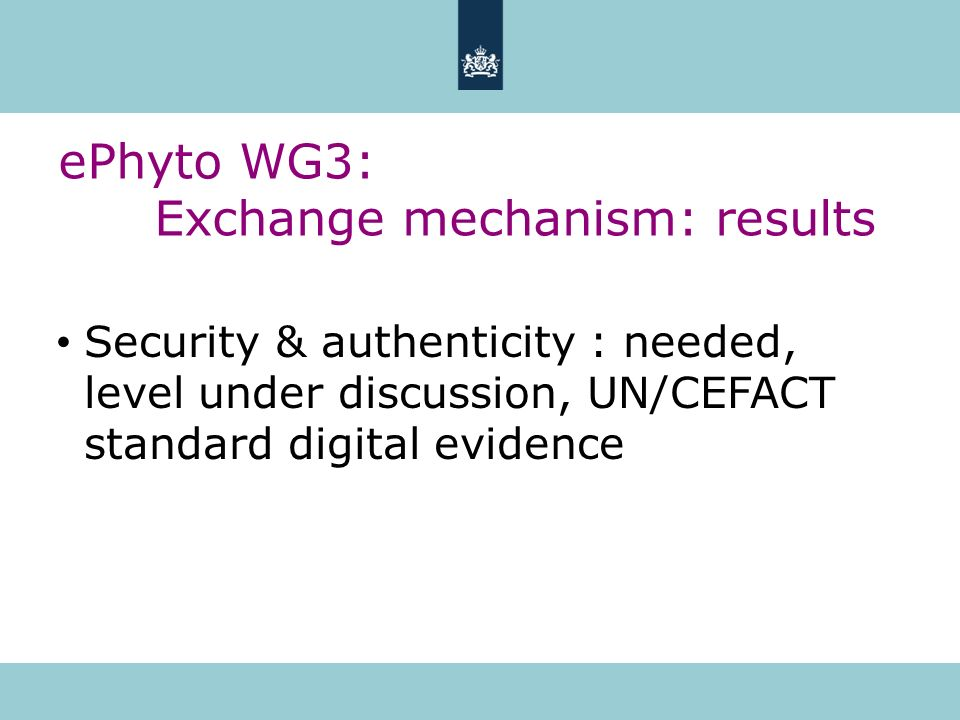 ePhyto WG3: Exchange mechanism: results