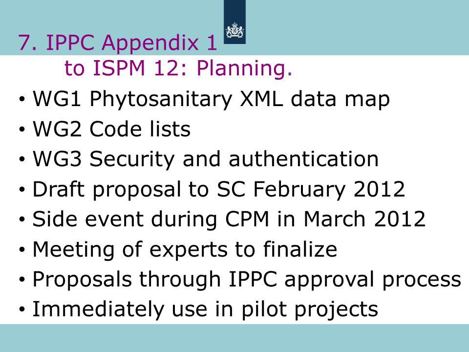 7. IPPC Appendix 1 to ISPM 12: Planning.