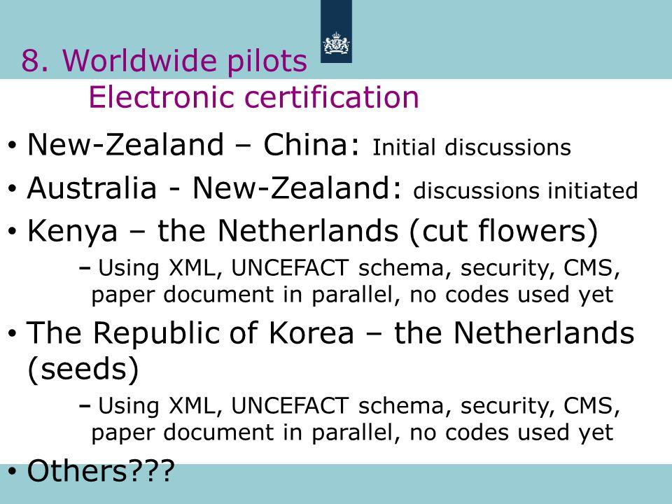 8. Worldwide pilots Electronic certification