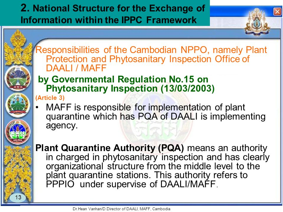 Dr.Hean Vanhan/D.Director of DAALI, MAFF, Cambodia