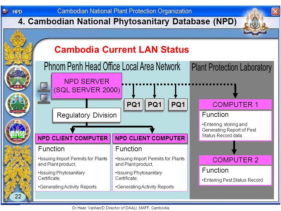 4. Cambodian National Phytosanitary Database (NPD)