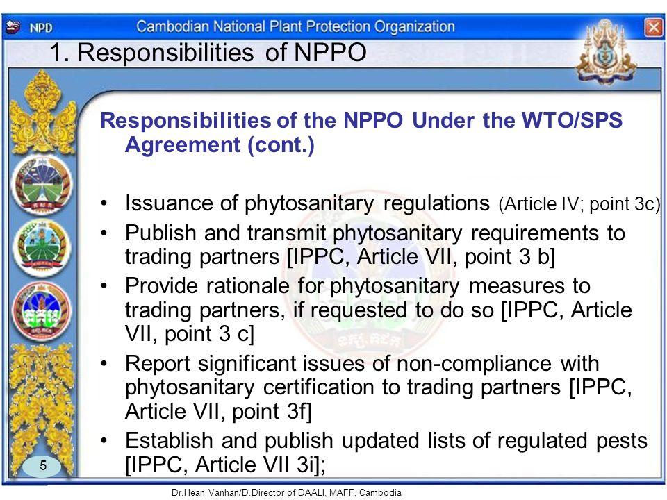 1. Responsibilities of NPPO