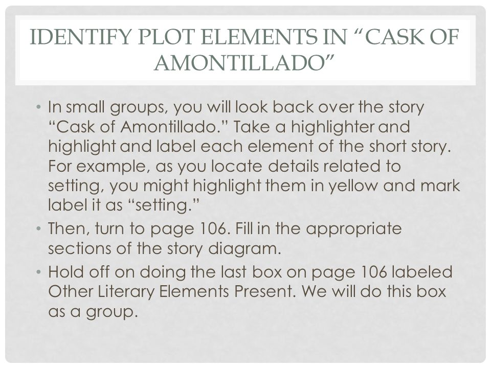 """Lesson 38 """"The Cask of Amontillado"""" Story Diagram & Irony - ppt ..."""