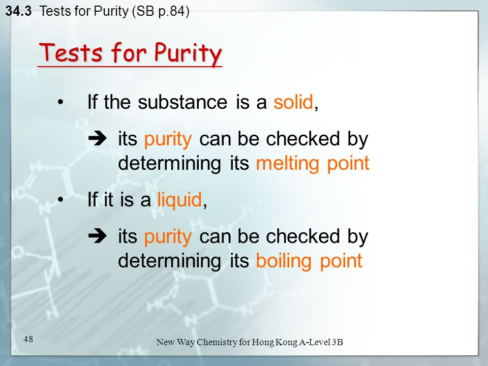 purity and purification of solids melting points Consequently, the melting point of a solid can be used as a measure of purity but not as a means of separation another effect of these impurities is that solids rarely melt at one temperature but instead melt.