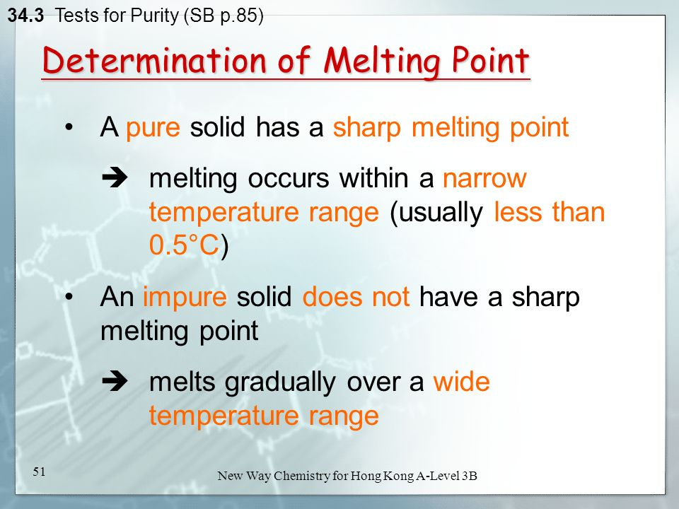 What does the melting point range tell you about the identity and purity of a product?