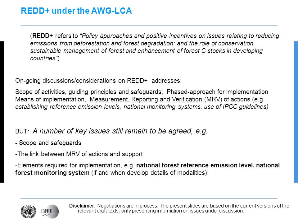 REDD+ under the AWG-LCA