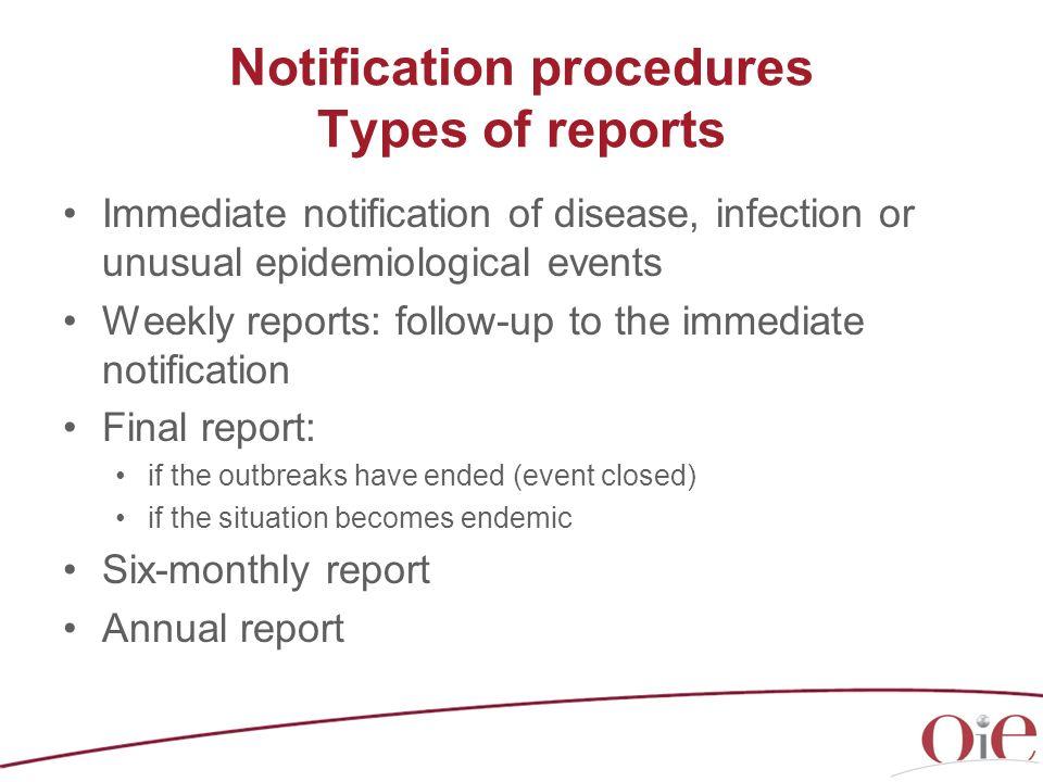 Notification procedures Types of reports