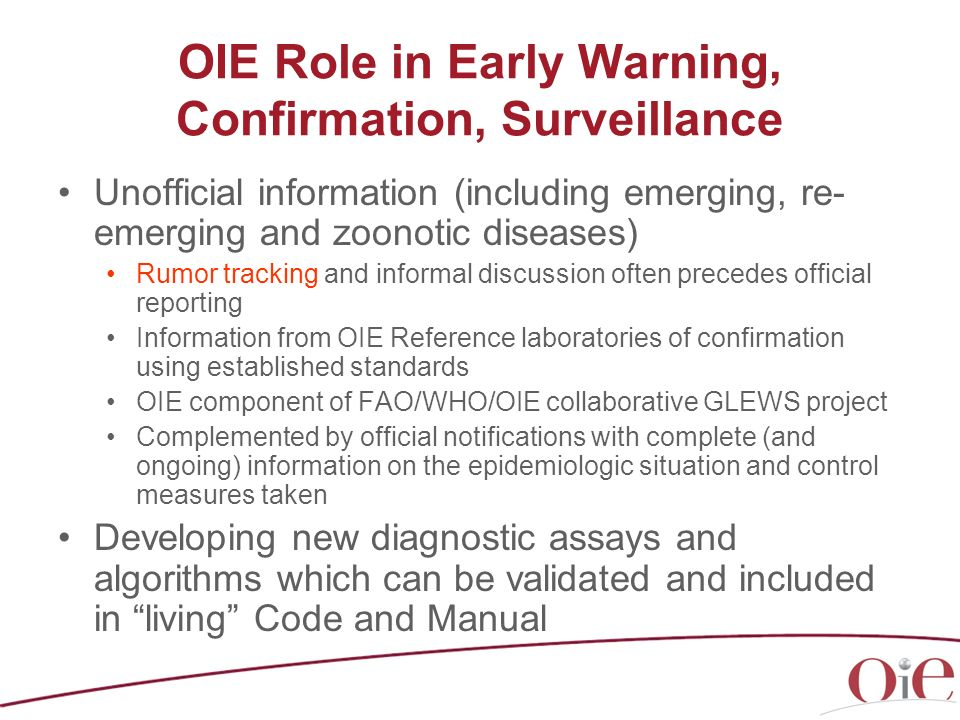 OIE Role in Early Warning, Confirmation, Surveillance
