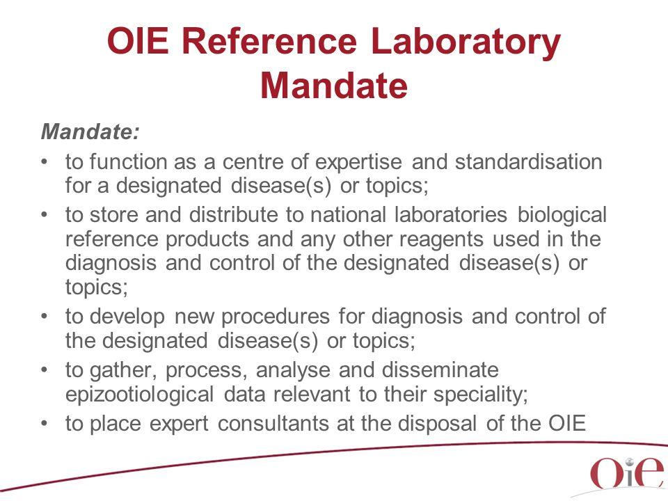 OIE Reference Laboratory Mandate