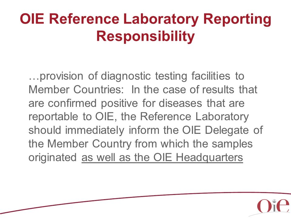 OIE Reference Laboratory Reporting Responsibility
