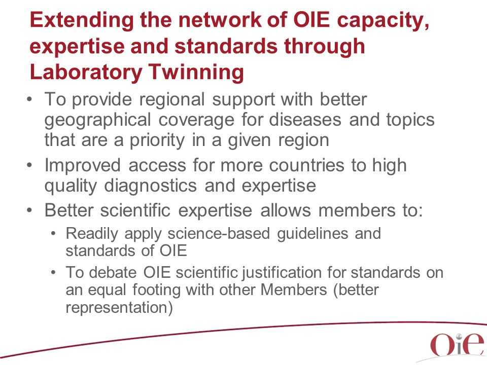 Extending the network of OIE capacity, expertise and standards through Laboratory Twinning
