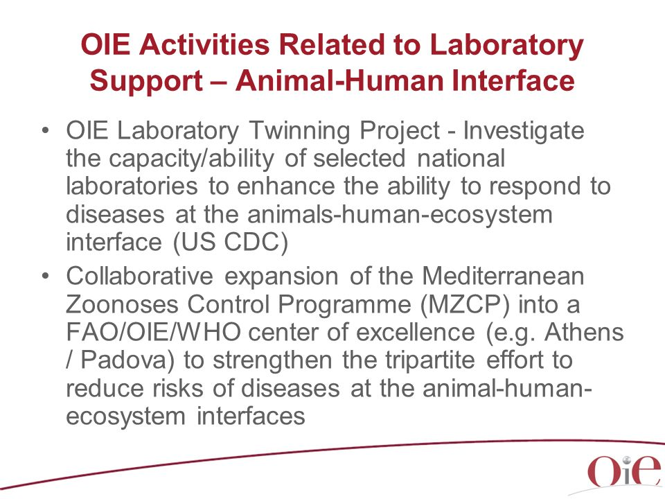 OIE Activities Related to Laboratory Support – Animal-Human Interface