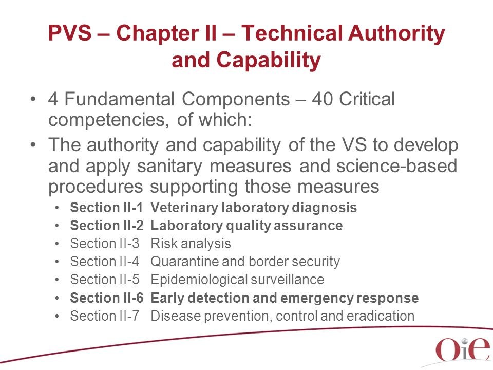 PVS – Chapter II – Technical Authority and Capability