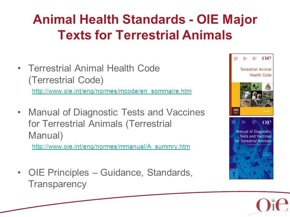 Animal Health Standards - OIE Major Texts for Terrestrial Animals