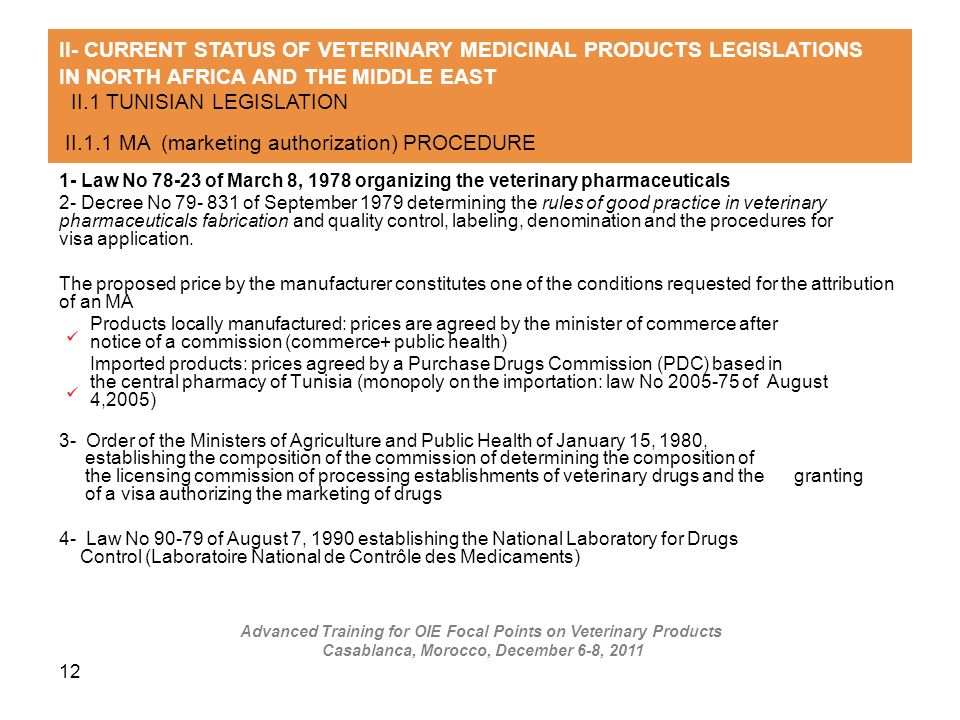 II- CURRENT STATUS OF VETERINARY MEDICINAL PRODUCTS LEGISLATIONS IN NORTH AFRICA AND THE MIDDLE EAST