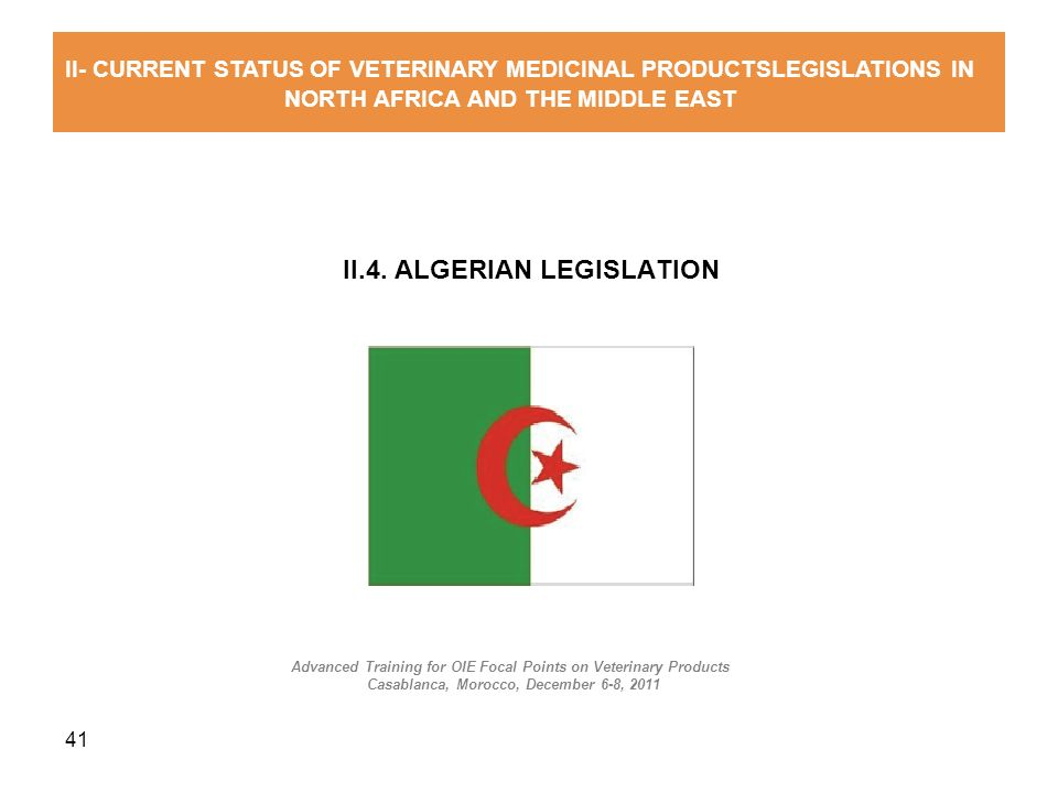 II.4. ALGERIAN LEGISLATION