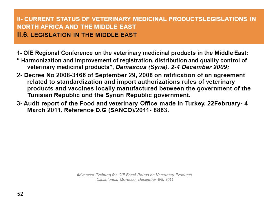 II.6. LEGISLATION IN THE MIDDLE EAST