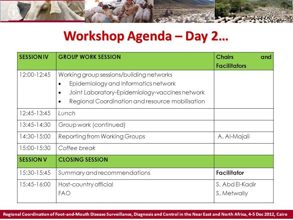 Workshop Agenda – Day 2… SESSION IV GROUP WORK SESSION