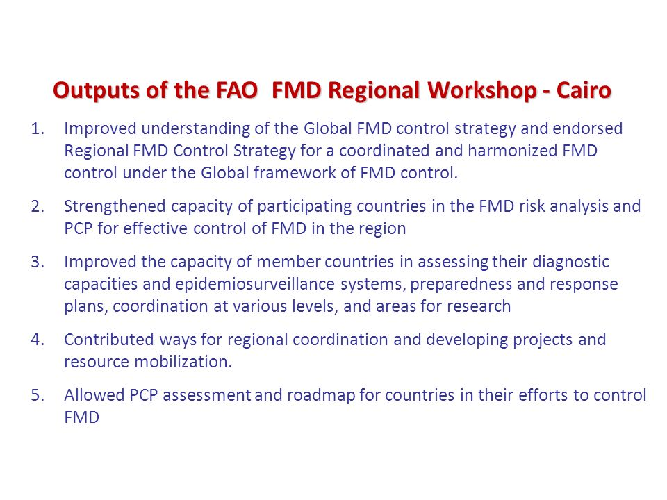 Outputs of the FAO FMD Regional Workshop - Cairo