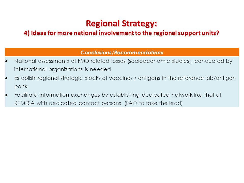 Regional Strategy: 4) Ideas for more national involvement to the regional support units Conclusions/Recommendations.