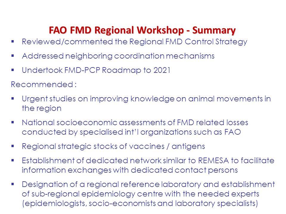 FAO FMD Regional Workshop - Summary