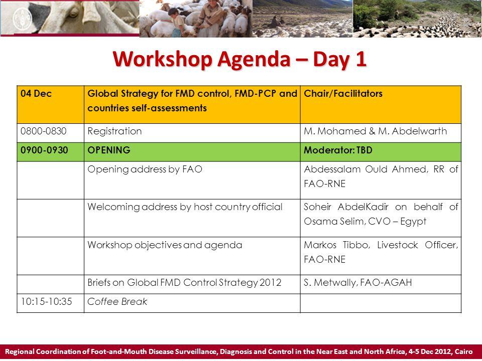 Workshop Agenda – Day 1 04 Dec