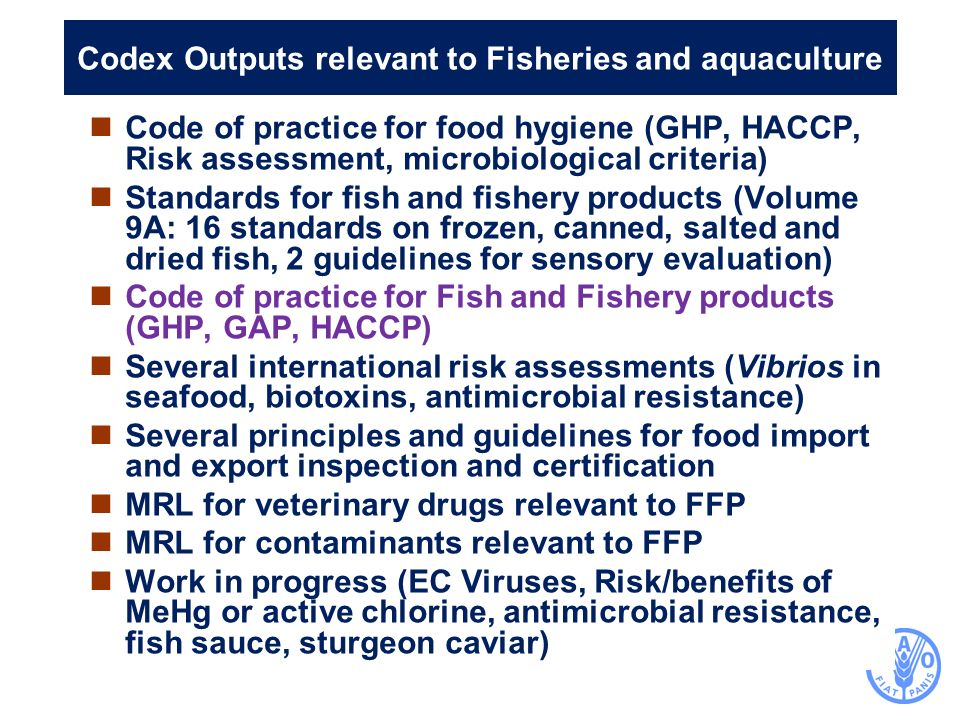 Codex Outputs relevant to Fisheries and aquaculture