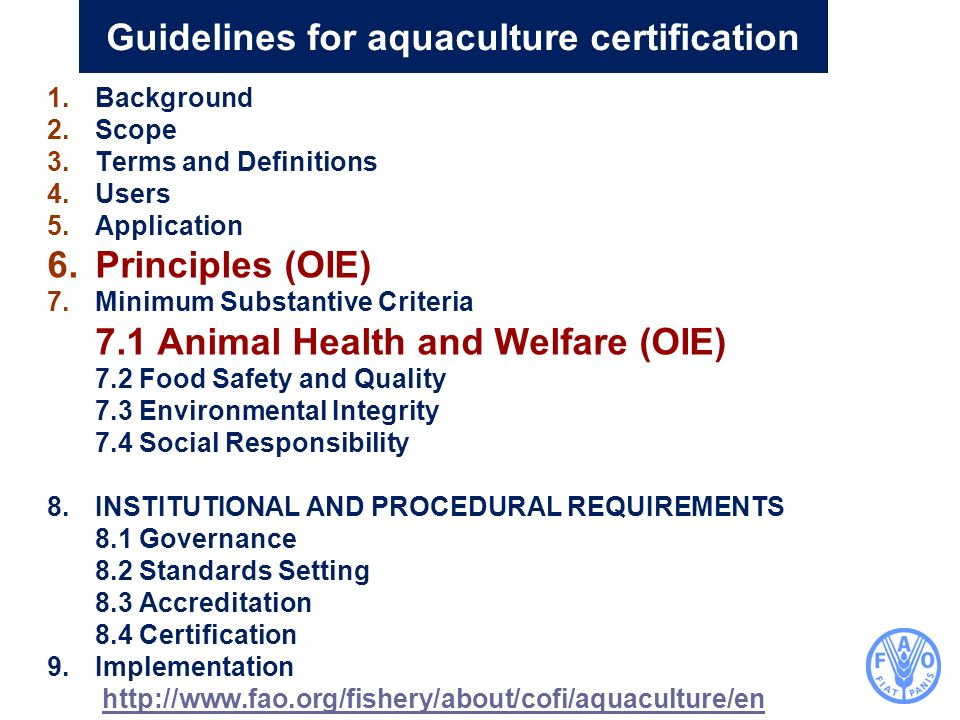 Guidelines for aquaculture certification