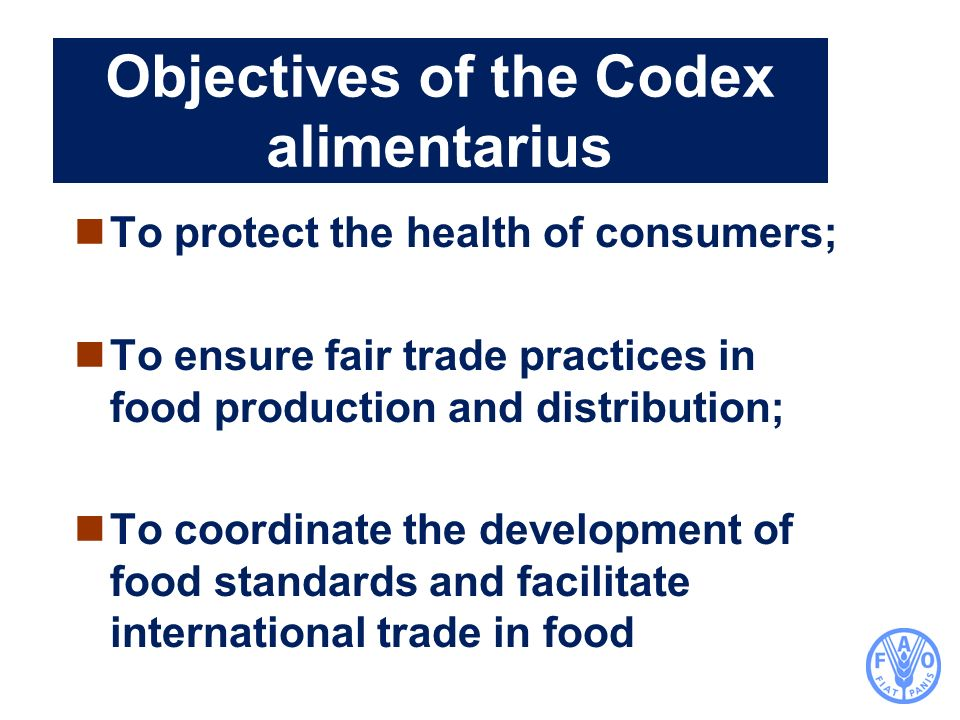 Objectives of the Codex alimentarius