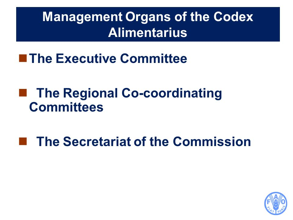 Management Organs of the Codex Alimentarius