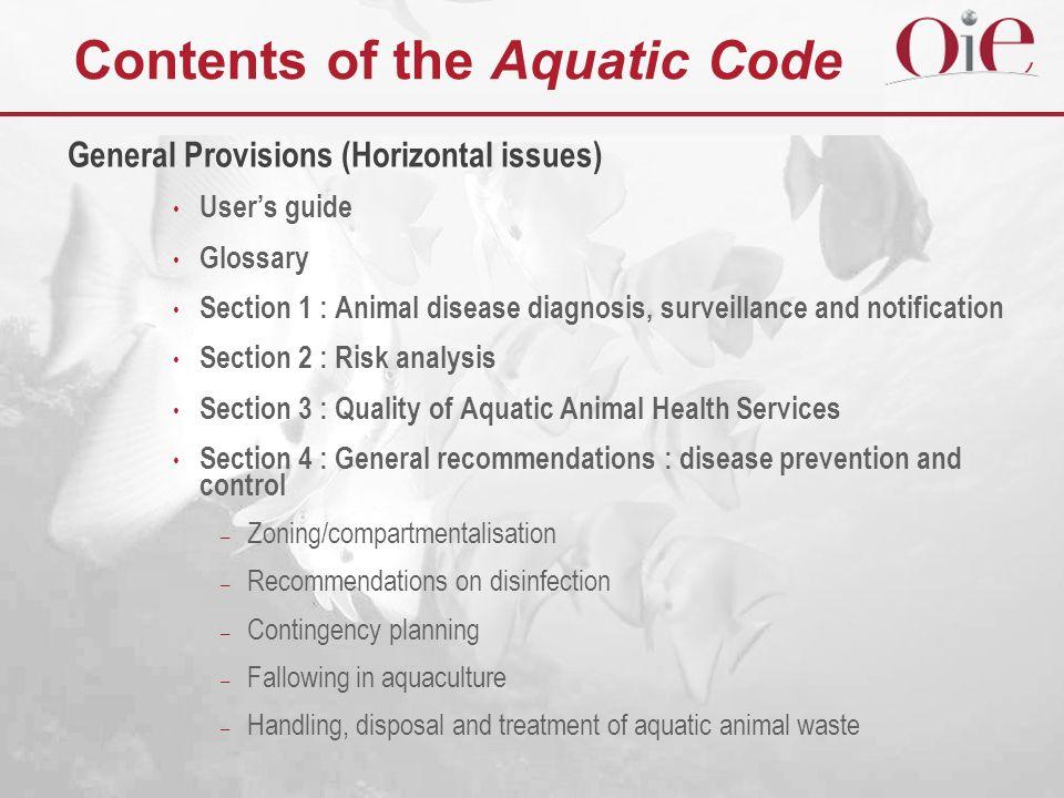 Contents of the Aquatic Code