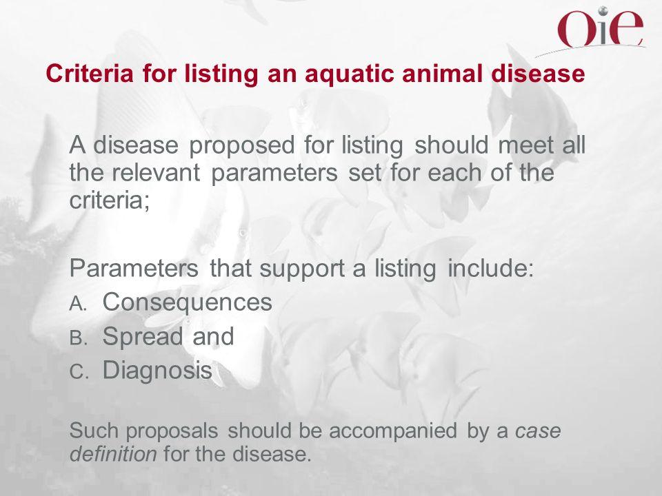 Criteria for listing an aquatic animal disease