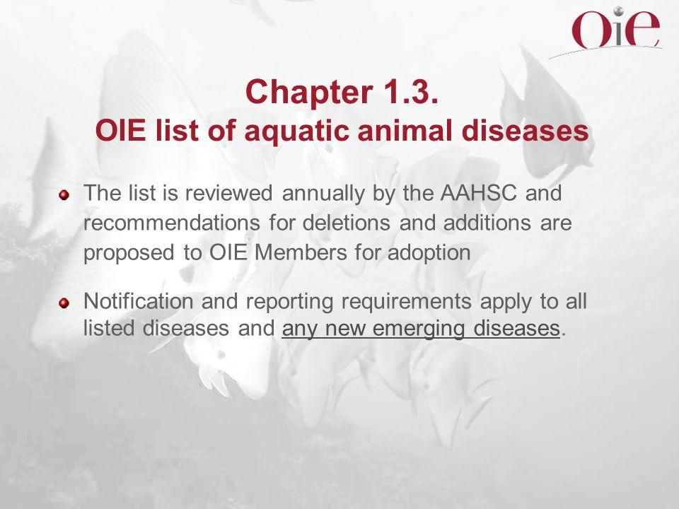 Chapter 1.3. OIE list of aquatic animal diseases