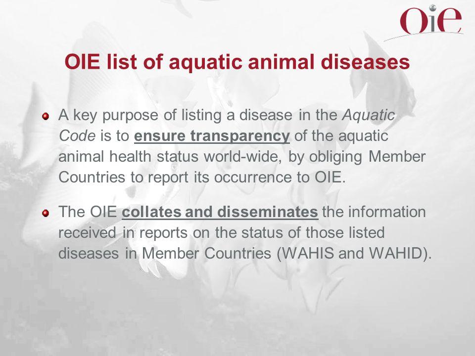 OIE list of aquatic animal diseases