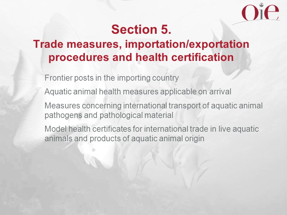 Section 5. Trade measures, importation/exportation procedures and health certification
