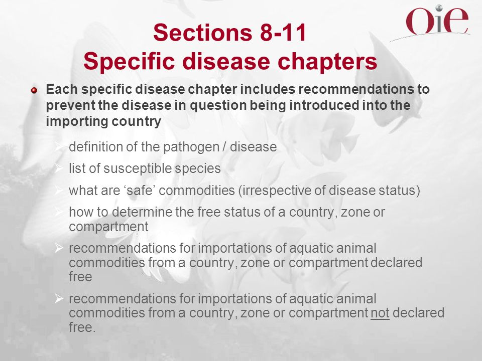 Sections 8-11 Specific disease chapters