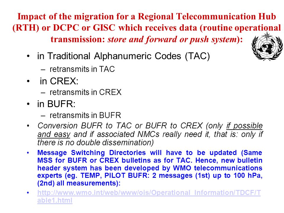 in Traditional Alphanumeric Codes (TAC) in CREX: in BUFR: