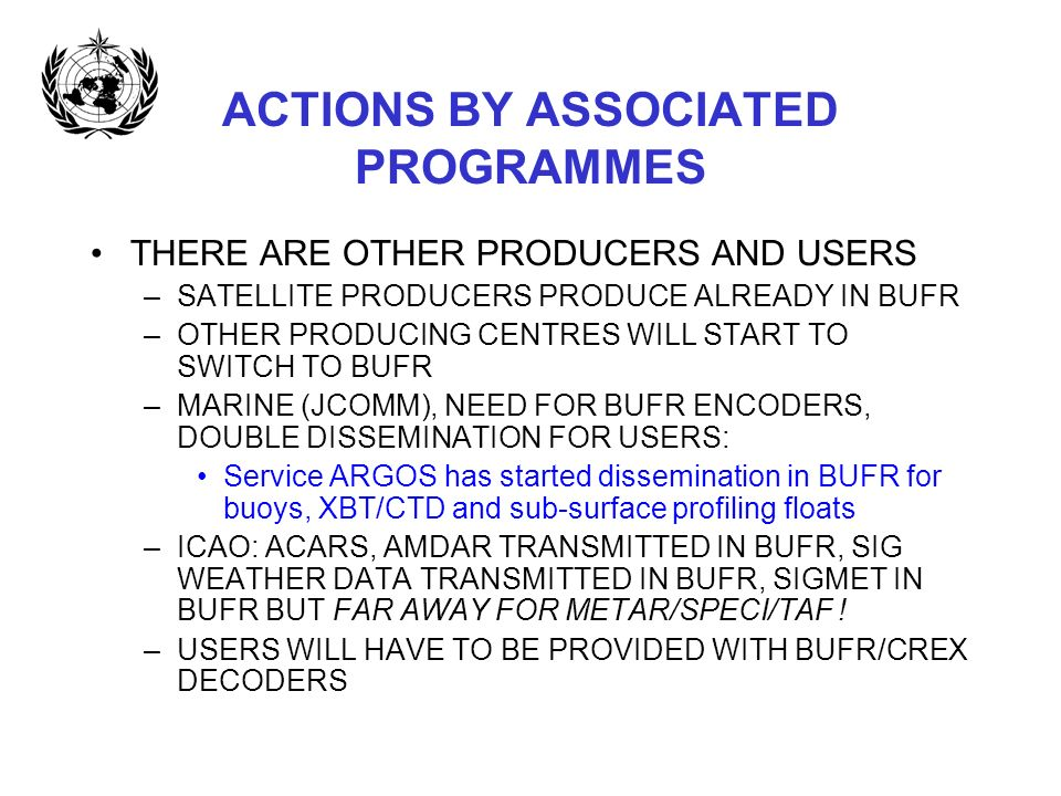ACTIONS BY ASSOCIATED PROGRAMMES